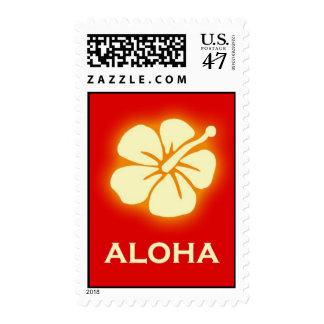 Aloha (hibiscus - red) postage stamp