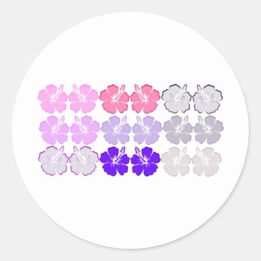 Aloha Hibiscus Round Stickers