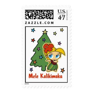 Aloha Honeys Christmas Blond Hula Girl Postage