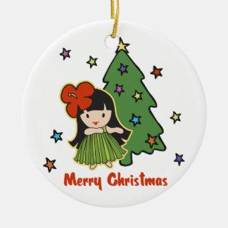 Aloha Honeys Christmas Hawaiian Hula Girl Double-Sided Ceramic Round Christmas Ornament