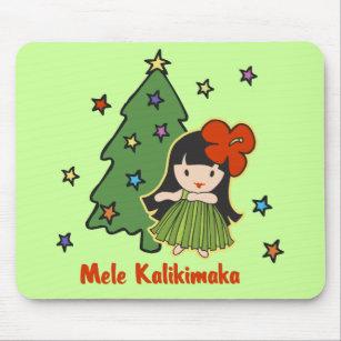 aloha honeys christmas hawaiian hula girl lime mouse pad - Christmas In Hawaiian