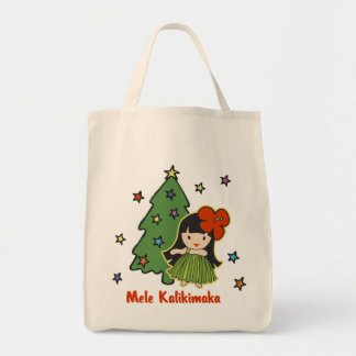 Aloha Honeys Christmas Hawaiian Hula Girl Tote Bag