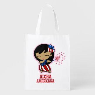 Aloha Honeys Firecracker Hula Girl Grocery Bag