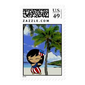 Aloha Honeys Hawaiian Beach Patriotic Postage