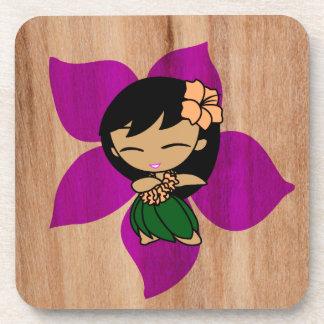 Aloha Honeys Hawaiian Hibiscus Vintage Hula Girl Beverage Coaster