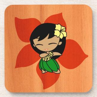Aloha Honeys Hawaiian Hibiscus Vintage Hula Girl Coaster