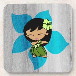 Aloha Honeys Hawaiian Hibiscus Vintage Hula Girl Drink Coaster