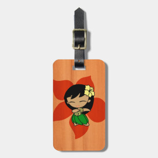 Aloha Honeys Hawaiian Hula Girl Faux Wood Luggage Tag