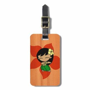 DriveIndustries Aloha Honeys Hawaiian Hula Girl Faux Wood Luggage Tag