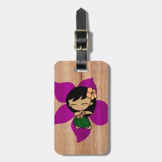 Aloha Honeys Hawaiian Hula Girl Faux Wood Luggage Tag