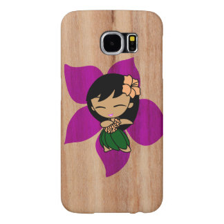 Aloha Honeys Hawaiian Hula Girl Faux Wood Samsung Galaxy S6 Cases
