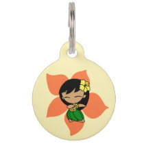 Aloha Honeys Hawaiian Hula Girl Hibiscus Pet Tag