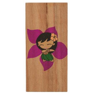 Aloha Honeys Hawaiian Hula Girl Wood Texture Wood USB 2.0 Flash Drive
