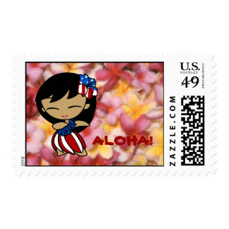 Aloha Honeys Hawaiian Plumeria Patriotic Postage