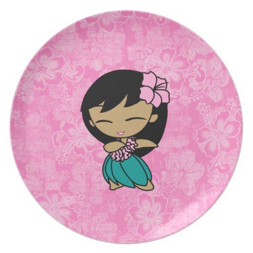 Aloha Honeys Hula Girl Hibiscus Plates