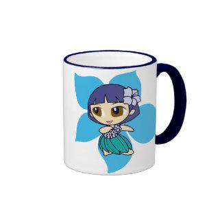 """""""Aloha Honeys"""" hula girl ringer mug"""
