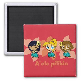 """Aloha Honeys "" hula girls magnet in red"