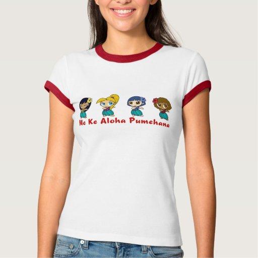 """""""Aloha Honeys"""" Ladies Ringer in Wht/Red T-Shirt"""