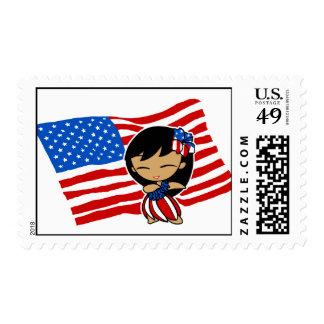 Aloha Honeys USA Flag Hula Girl Postage