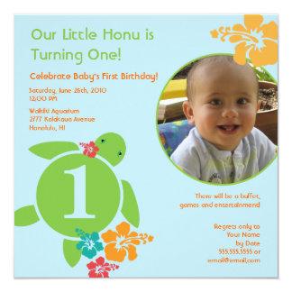 "Aloha Honu Custom Photo Birthday Invitation - Blue 5.25"" Square Invitation Card"