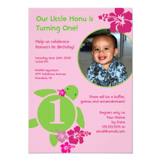 "Aloha Honu Custom Photo Card Birthday Invitation 5"" X 7"" Invitation Card"