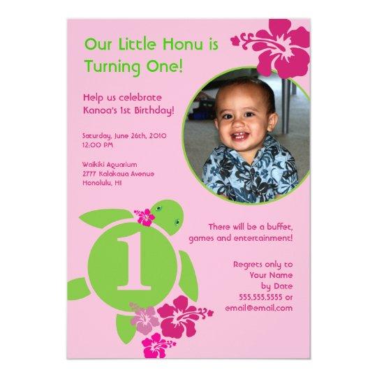 aloha honu custom photo card birthday invitation  zazzle
