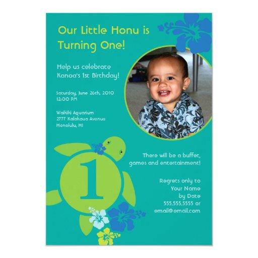 Aloha Honu Custom Photo Card Birthday Invitation