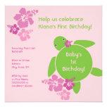 Aloha Honu First Birthday Invitation - Pink
