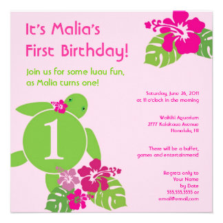 Aloha Honu First Birthday Luau Invitation