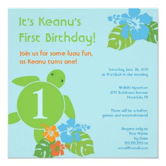"Aloha Honu First Birthday Luau Invitation 5.25"" Square Invitation Card"