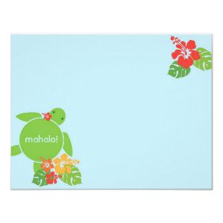 Aloha Honu Flat Thank You Card - Blue