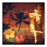 Aloha Hula Girl hawaii retro beach bridal shower Personalized Announcements