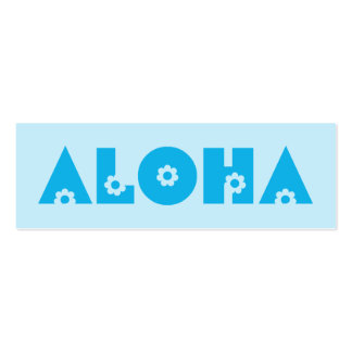 Aloha in Blue Flowers Double-Sided Mini Business Cards (Pack Of 20)