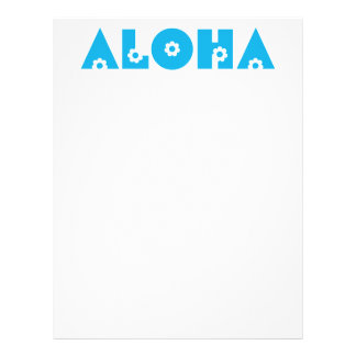 Aloha in Blue Flowers Letterhead