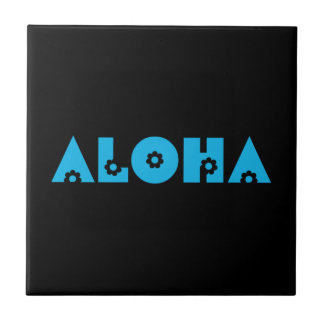 Aloha in Blue Flowers Small Square Tile