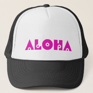 Aloha in Pink Flowers Trucker Hat