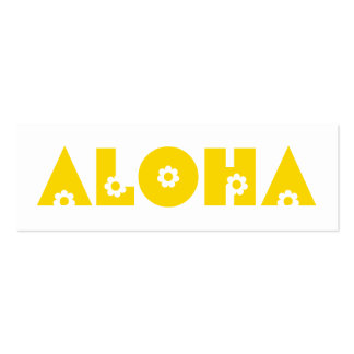 Aloha in Yellow Flowers Double-Sided Mini Business Cards (Pack Of 20)