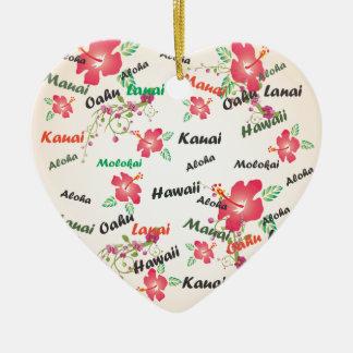 aloha, kauai, hawaii, oahu, maui, lanai background Double-Sided heart ceramic christmas ornament