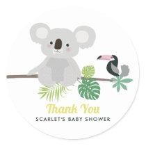 Aloha Koala & Toucan Baby Shower Thank You Sticker