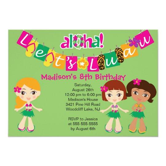Aloha Little Luau Party Birthday Invitation