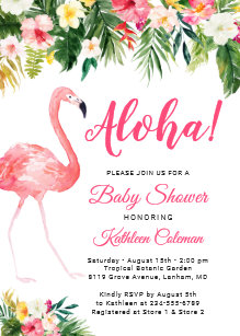 Save 60 on luau baby shower invitations limited time only zazzle aloha luau baby shower tropical floral flamingo invitation filmwisefo