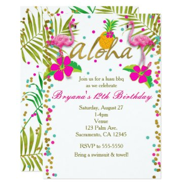 Beach Themed Aloha Luau Girls Tropical Flamingo Birthday Party Card