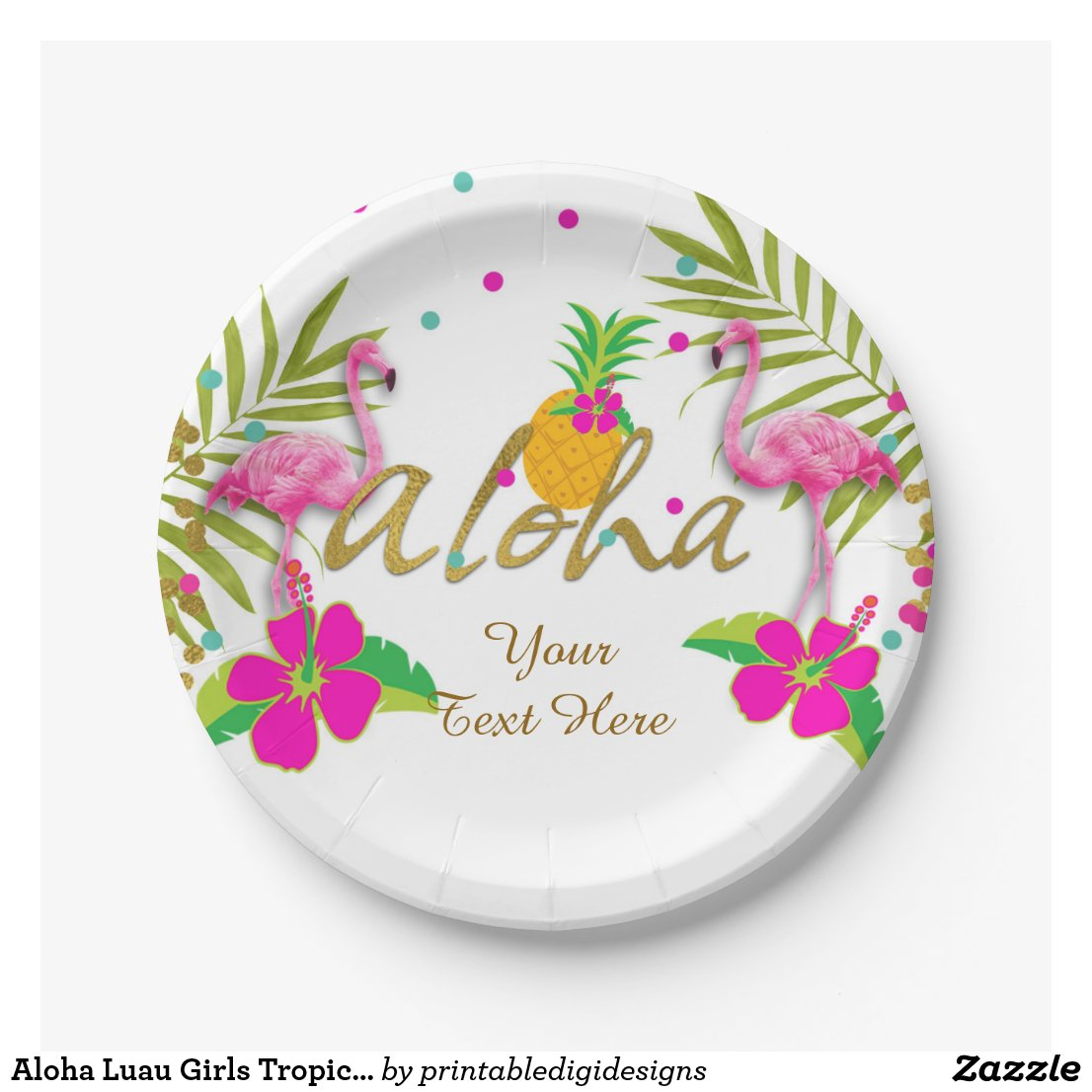 Aloha Luau Girls Tropical Flamingo Birthday Party