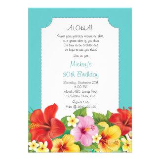 Aloha Luau Hawaiian Birthday Party Custom Announcement
