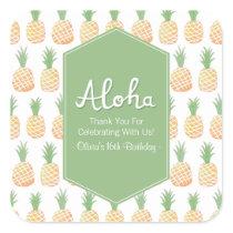 Aloha Luau Pineapple Pattern Thank You Stickers
