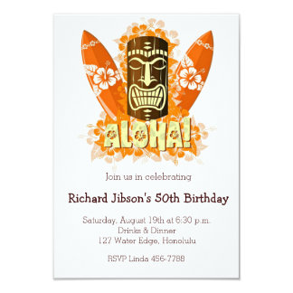 "Aloha Luau Tiki Mask Summer Party Invitations 3.5"" X 5"" Invitation Card"