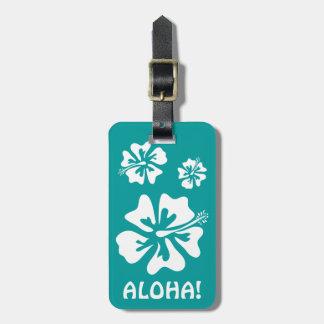 Aloha luggage tag with Hawaiian Hibiscus flowers