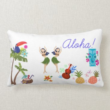 Beach Themed Aloha Lumbar Pillow