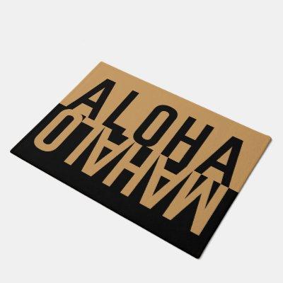 Aloha & Mahalo (Black) Doormat
