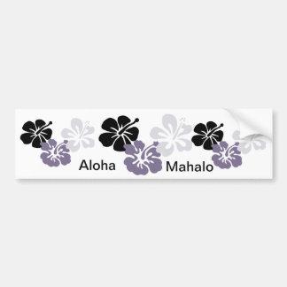 aloha mahalo gray hibiscus bumper sticker